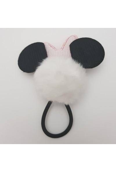Mimol Bebek Ponpon Minnie Mouse Kulaklı Çocuk Tokası - Beyaz
