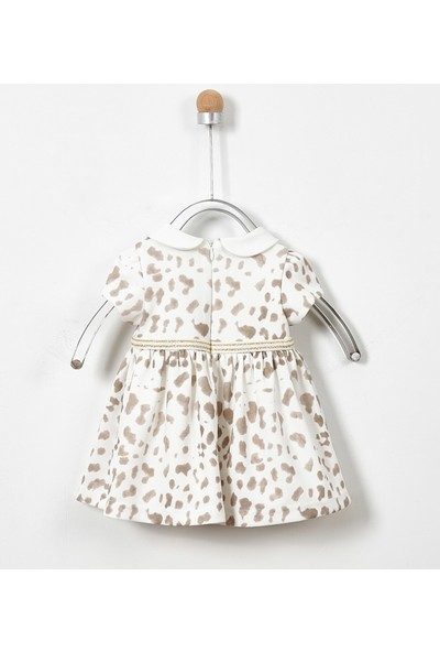 Panço Elbise Kız Bebek Ekru