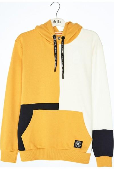 FullaModa Renk Bloklu Kapüşonlu Sweatshirt