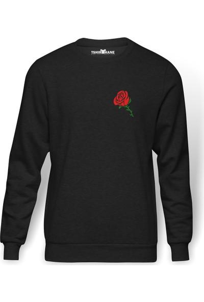 Tshirthane Silhouette Red Rose Kırımızı Gül Baskılı Füme Erkek Örme Sweatshirt Uzun Kol