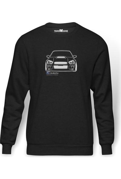 Tshirthane Subaru Baskılı Füme Erkek Örme Sweatshirt Uzun Kol