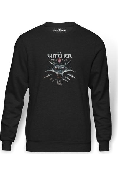 Tshirthane The Witcher Baskılı Füme Erkek Örme Sweatshirt Uzun Kol