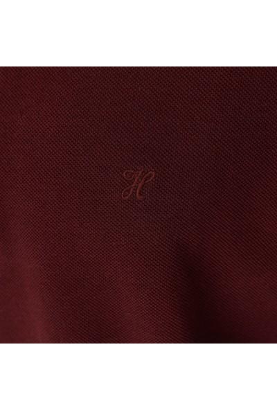 Hateko Erkek %100 Pamuk Bordo Uzun Kollu Polo Yaka Tişört