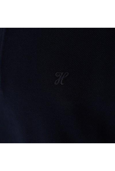 Hateko Erkek %100 Pamuk Lacivert Uzun Kollu Polo Yaka Tişört