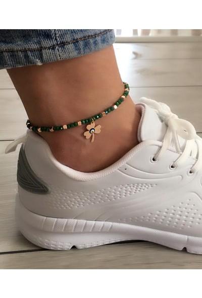 Serpil Jewellery Yeşil Kristal Taşlı Nazarlı Şans Yoncalı Alaçatı Halhalı
