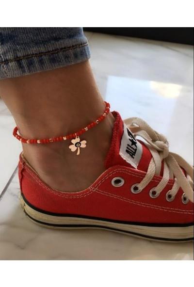 Serpil Jewellery Kırmızı Kristal Taşlı Nazarlı Şans Yoncalı Alaçatı Halhalı