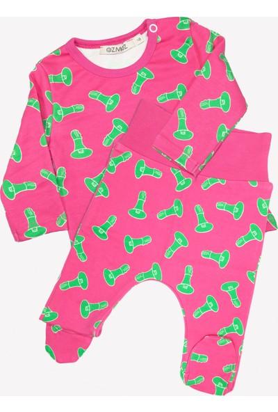 OZMOZ Megafon Desenli Organik Bebek Patikli Pijama Takımı- Pembe