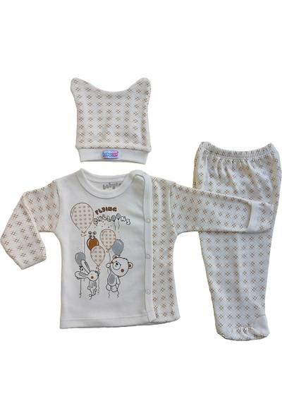 Babycan Bebek 3 Lü Takım Yeni Doğan Zıbın Takımı Kendinden Eldivenli Uçan Balonlar