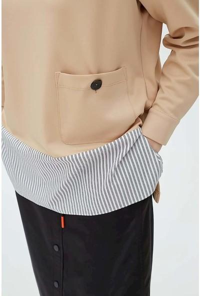Kayra KA-B20-10021 Katlamalı Ters Yaka Cepli Gömlek Etekli Sweatshirt