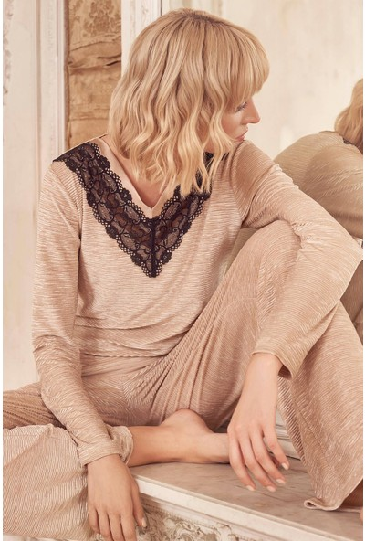 Miss Loren 2009 Kadın Uzun Kol Kadife Pijama Takımı