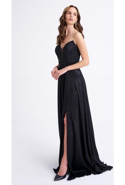 Elbisemhazır Parıltı Kumaş Siyah Renk Bayan Abiye Elbise 3004