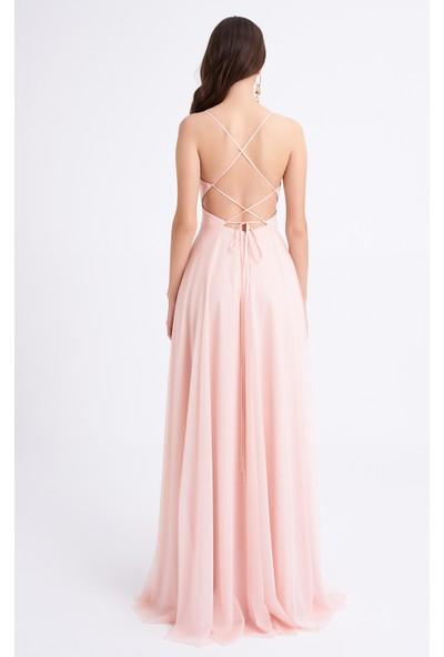 Elbisemhazır Simli Tül Pudra Renk Abiye Bayan Elbise 3007