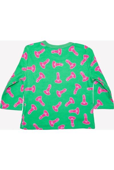 OZMOZ Megafon Desenli Organik Bebek Patikli Pijama Takımı- Yeşil