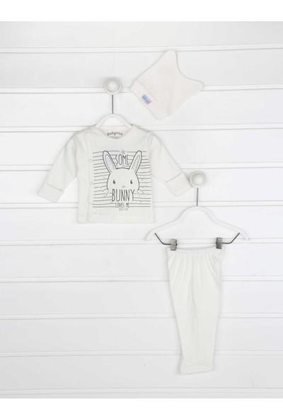 Modakids Beyaz Kundak Eldiven Kız Bebek 3 lü Zıbın Takımı