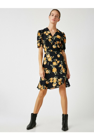 Koton V Yaka Kısa Kollu Çiçek Desenli Elbise