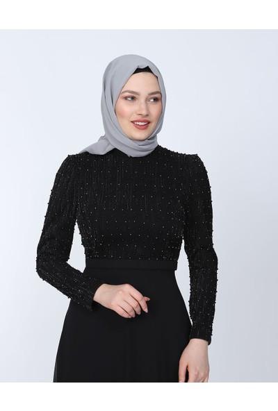 Perya Sim ve Boncuk Işlemeli Şifon Abiye Elbise Siyah Kadın Giyim