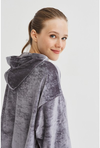 Penti Gri Velvet Sweatshirt