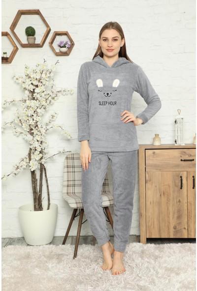 AKASYA Kadın Uzun Kollu Nakış Desen Kapüşonlu Tam Peluş Pijama Takımı 1720
