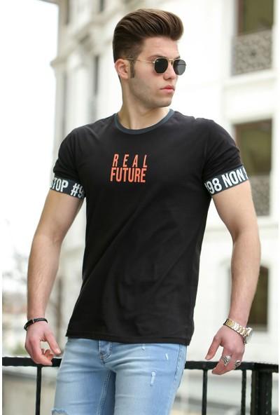 Madmext Baskılı Siyah Erkek T-Shirt 4527