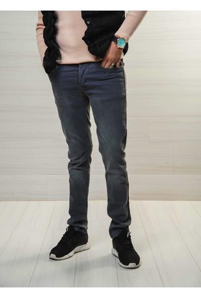 Deep Brown Erkek Gri Kot Pantolon SlimFit Likralı Taşlamalı Deep Brown 5970-AG