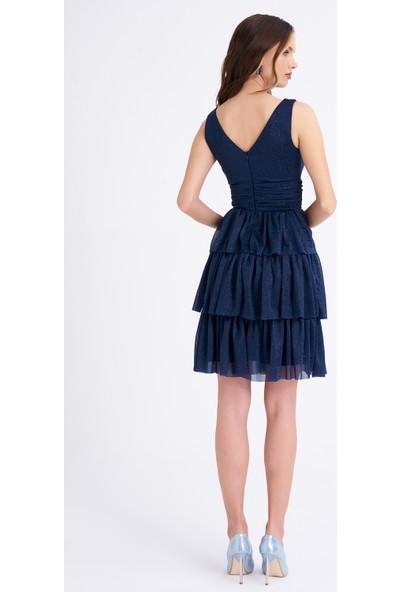 Elbisemhazır Lacivert Renk Simli Tül Kat Kat Mini Bayan Elbise 2004