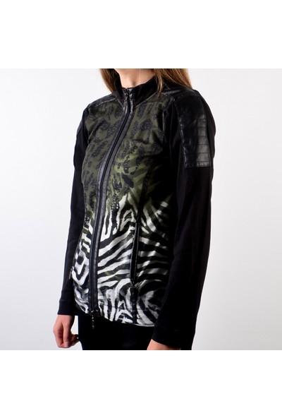 Monari Desenli Fermuarlı Kadın Sweatshirt