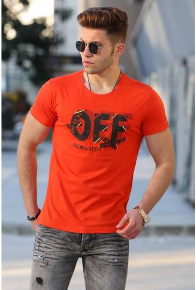 Madmext Büyük Beden Turuncu Battal Erkek T-Shirt 4573