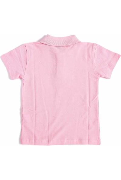 Alm Pembe Kısa Kol 6-16 Yaş Okul Çocuk Lakos /T-shirt - 80238-Pembe