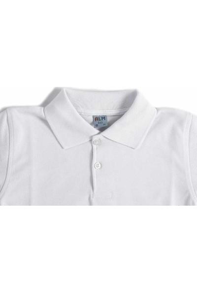 Alm Beyaz Kısa Kol 6-16 Yaş Çocuk Okul Lakos /T-shirt - 80238-Beyaz