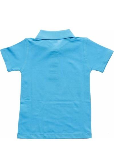 Alm Turkuaz Kısa Kol 6-16 Yaş Çocuk Okul Lakos /T-shirt - 80238-Turkuaz