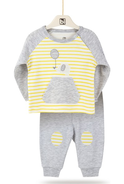Bibaby Tiny Elephant Desenli Kız Erkek Bebek Pamuk Alt Üst Pantolon 2'li Takım