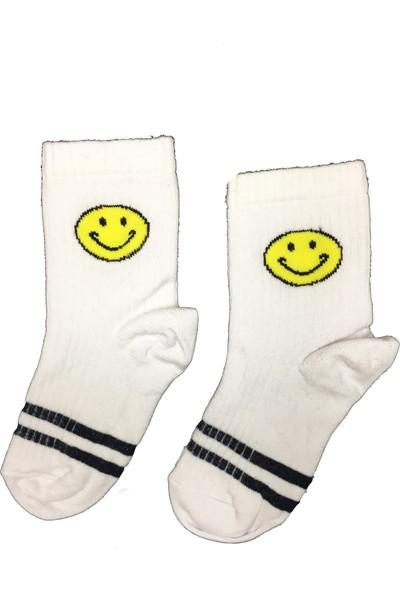 Calze Vita Gülen Emojili Beyaz Çocuk Çorabı