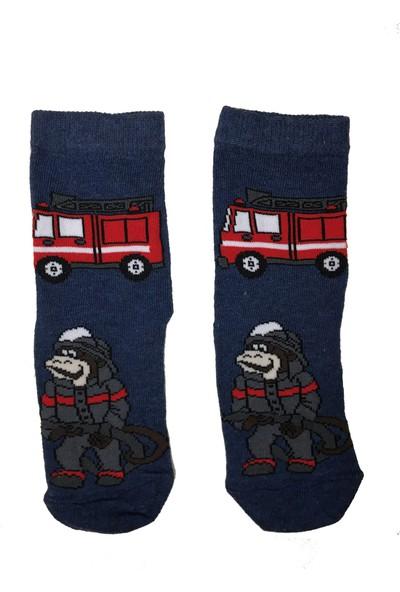 Calze Vita Maymun Itfaiye Desenli Lacivert Çocuk Çorabı