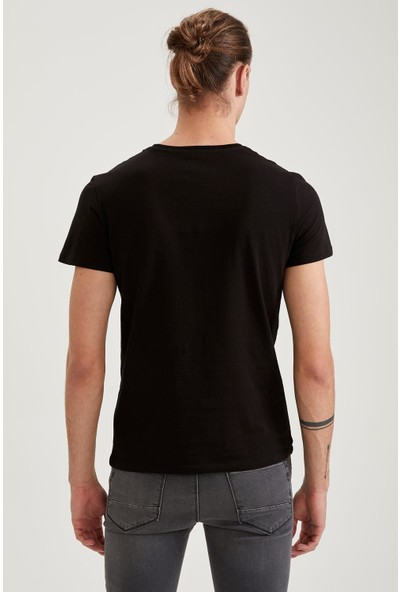 Defacto Slim Fit Kartal Baskılı Pamuklu Tişört Ve Maske