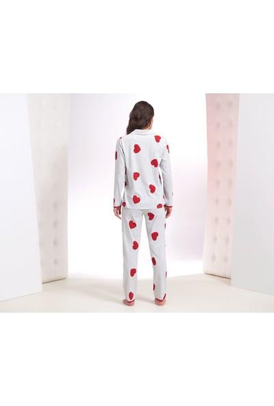 Zey Kadın Düğmeli Pijama Takım 30217