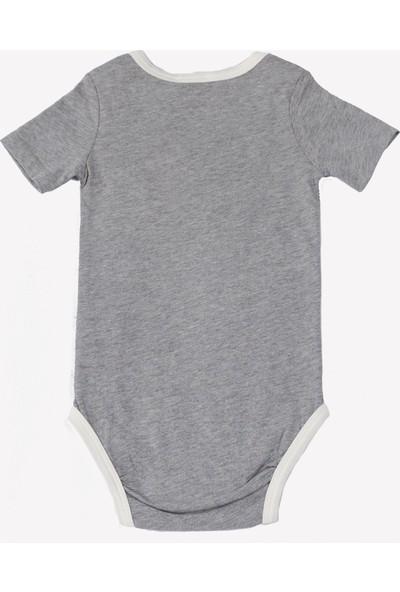 Ozmoz Kuzu Baskılı Organik Unisex Bebek Body Gri