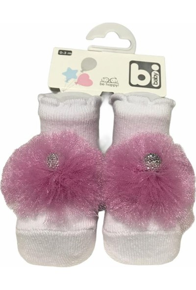 Bibaby Kız Bebek Ponpon Aksesuarlı Pamuklu Yumuşak Çorap