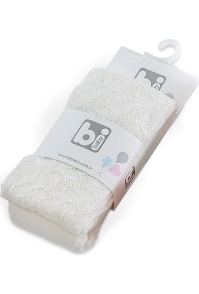 Bibaby Petek Örgü Desenli Kız Bebek Pamuklu Penye Külotlu Çorap