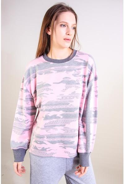 Alexandergardı Desenli Sweatshirt Pembe (B20-502200)