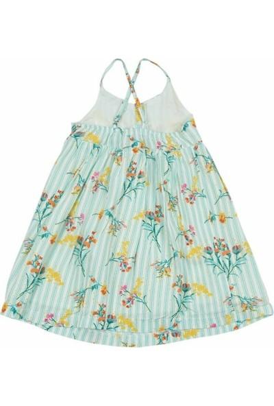 Fitkid Çizgi Üzeri Çiçek Desenli Mint Yeşili Elbise