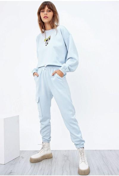 Ecrou Kadın Bebek Mavi Nakışlı Üstü Crop Altı Jogger 3 Iplik Eşofman Takım