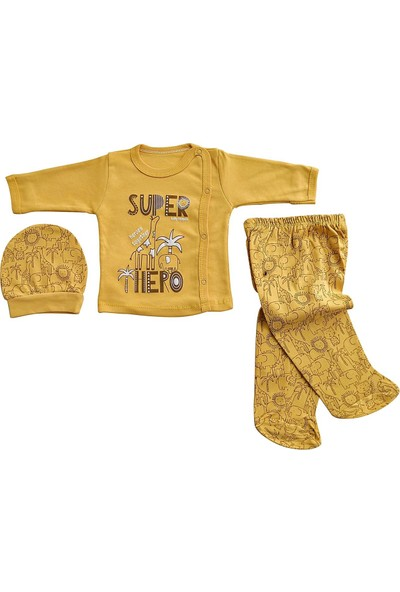Hoppala Baby Bebek 3 Lü Takım Yeni Doğan Zıbın Takımı Süper Baskılı