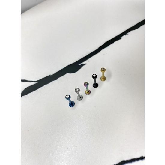 Bydamlaemre Cerrahi Çelik Taşlı Piercing Dudak Kıkırdak Tragus 8 mm 5'li Set
