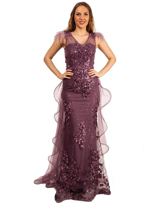 Elbisemhazır Kadın 3 Boyutlu Çiçek Desenli Balık Kesim Abiye 7100