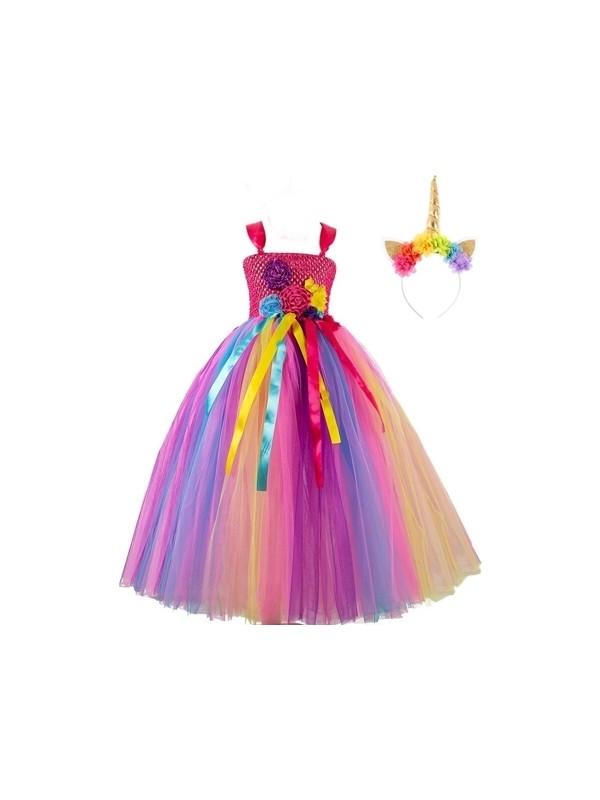 Bba New Trend Unicorn Tütü Gökkuşağı Elbise,unicorn Taç Doğum Günü Elbise Seti