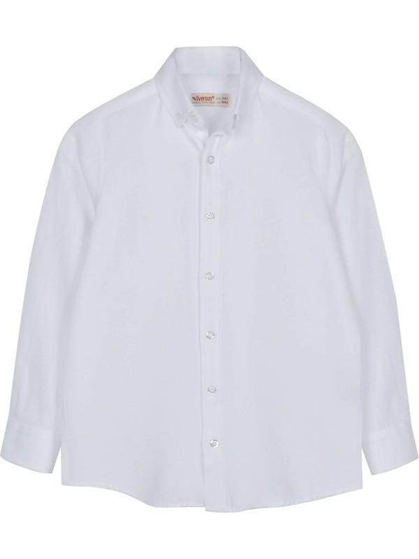 Silversun Beyaz Ren Kli Uzun Kol Önden Düğmeli Klasik Erkek Çocuk Gömlek|gc 316328