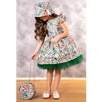 Riccotarz Kız Çocuk Green Flowers Tütülü Elbise
