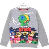 Brawl Stars Oyun Karakterleri Baskılı Erkek Çocuk Sweatshirt 5 - 12 Yaş Gri