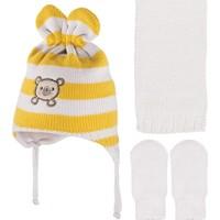Bebekodam Ayıcık Nakışlı Sarı Krem Bebek Atkı Bere Eldiven Set
