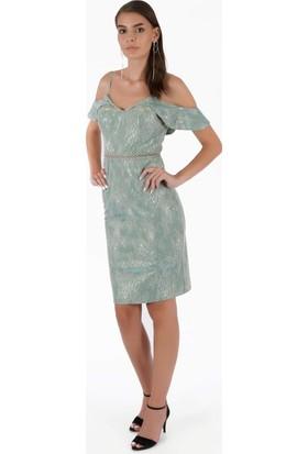Carmen Su Yeşili Askılı Güpür Brodeli Kısa Abiye Elbise
